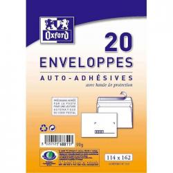 Oxford 20 Enveloppes Auto-Adhésives Pré-Casées 16,2 Cm X 11,4 Cm X 0,8 Cm 80G