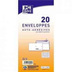 Oxford 20 Enveloppes Auto-Adhésives Pré-Casées 22 Cm X 11 Cm X 0,8 Cm 80Gr