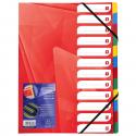 Exacompta Trieur À Rivets Avec Élastiques 24.5X31.5 Cm 12 Positions Rouge