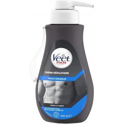 Veet Men Crème Dépilatoire Homme Peaux Sensibles 400 Ml