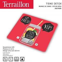 Terraillon Balance De Cuisine, Tare, Conversions Liquides, Ultra-Fine, Portée 3 Kg, T1040 Detox, Rouge