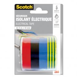 Scotch Adhésif Isolation Électrique 5Mx15Mm : Le Lot Assorti De 4 Couleurs
