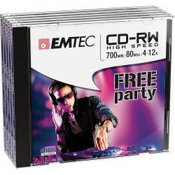 Emtec Pack De 5 Cd-Rw 700Mb/80Min 4-12X Jewel Case