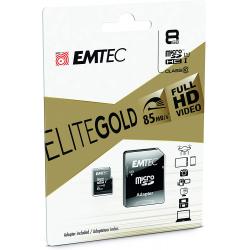 Emtec Carte Microsd Classe 10 Gamme Elite Gold Avec Adaptateur Performance Vitesse De Lecture Jusqu'À 85Mb/S Noir/Or 8 Gb