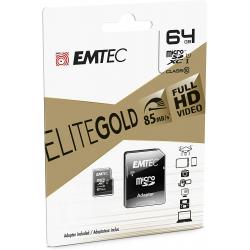 Emtec Carte Microsd Classe 10 Gamme Elite Gold Avec Adaptateur Performance Vitesse De Lecture Jusqu'À 85Mb/S Noir/Or 64Gb
