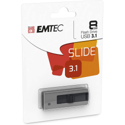 Emtec Clé Usb 3.0 Série Runners Collection B250 Slide 8 Go Slider Coulissant Gris Noir Design Exclusif
