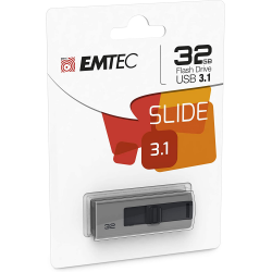 Emtec Clé Usb 3.0 Série Runners Collection B250 Slide 32 Go Slider Coulissant Gris Noir Design Exclusif