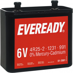 Energizer Pile Saline Plastique Nr825 6V Eveready Type 4R25-2 Vis