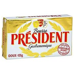 President Beurre Doux Président 82%Mg Plaquette 125G
