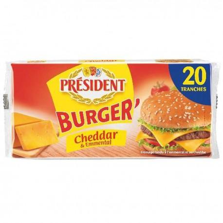 President Burger Emmental Cheddar Président 18%Mg 20 Tranches 340G
