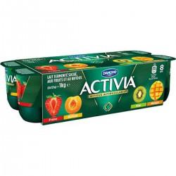 8X125G Yaourt Activia Panache Abricot-Fraise-Mangue-Kiwi
