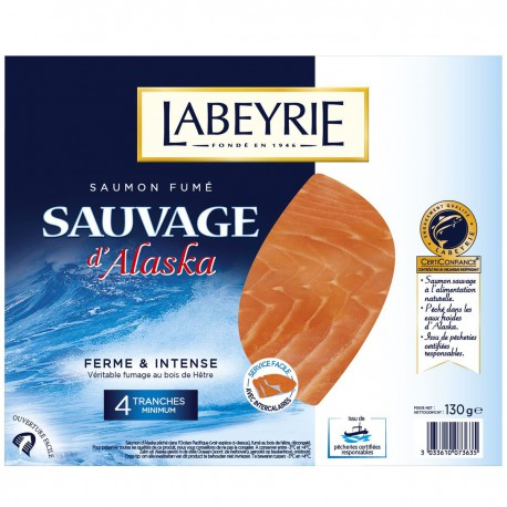 130G 4 Tranches Saumon Fume Sauvage Labeyrie