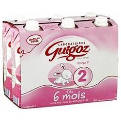 Nestle Lait Bébé Liquide 2Ème Âge Guigoz Les 6 Briques De 500 Ml