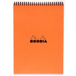 Rhodia Bloc À Reliure Intégrale Spirale Orange, A4, 21X29,7 Cm, 80 Feuillets Détachables, 5X5, Clairefontaine Blanc 80G