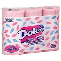 6 Rouleaux Papier Hygienique Compact Rose Dolce